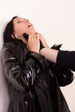 Strangler attacked innocence woman (imitation) Stock Photos