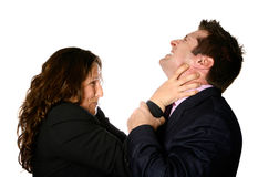 Strangling a  businessman Stock Images