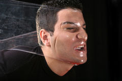Strangling man by plastic. Man fighting for life, strangling by plastic stock images
