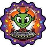 Straniero amichevole in UFO Fotografie Stock