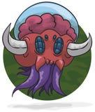 Straniero bizzarro con i corni, i tentacoli, gli occhi dell'insetto ed il cervello coperto, illustrazione di vettore illustrazione di stock
