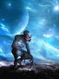 Straniero di spazio surreale del UFO, pianeta illustrazione vettoriale