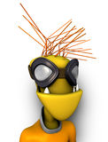 Straniero divertente 3d con gli occhiali di protezione fotografie stock libere da diritti