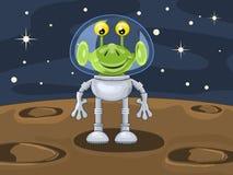 Straniero divertente del fumetto sopra la superficie del planetoid Fotografie Stock