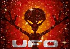 Straniero extraterrestre su un fondo rosso illustrazione di stock
