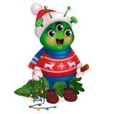 Straniero in maglione che tiene l'albero di Natale Nuovo anno illustrazione vettoriale