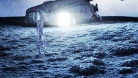 Straniero sul pianeta, luna Terra su backgound UFO Moto e shaders realistici animazione 4K illustrazione vettoriale