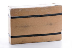Strapped rectangular cardboard box Royalty Free Stock Photos
