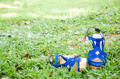 Strappy high heels shoes on grass. Stock Images