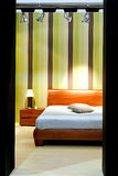 Straps bedroom 2. Modern bedroom with straps at green wall Stock Photo