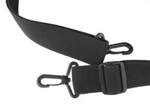 Straps and fastenings. Black belt straps with fastener system on white royalty free stock image