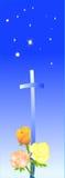 Strars bleus avec les roses et la croix Image libre de droits