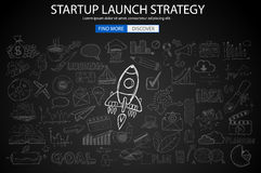 Strartup Launch Strategy Concept with Doodle design style Royalty Free Stock Photo