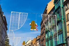 Strasboug 2015年12月 圣诞节装饰在史特拉斯堡, Als 免版税库存照片