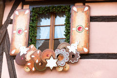 Strasboug 2015年12月 圣诞节装饰在史特拉斯堡, Als 免版税库存图片
