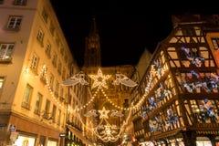 Strasboug December 2015 Julgarnering på Strasbourg, Als Arkivbild