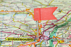 Strasbourg. Famous city in France. Red flag pin on an old map showing travel destination Royalty Free Stock Photo