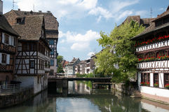 Strasbourg. Half-timbered houses and canal in Petite France, Strasbourg, France Stock Image