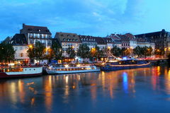 Strasbourg. Quay of strasbourg in france the night Royalty Free Stock Photography