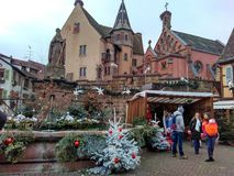 Small cities decorated for Christmas Strasbourg - Alsace, France. Strasbourg, Alsace, France - December 27, 2017: facades of houses decorated for Christmas in Stock Photos
