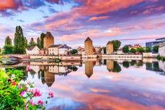 Strasbourg, Alsace, France. Medieval bridge Ponts Couverts and Barrage Vauban Stock Images