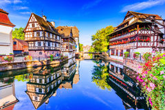 Strasbourg, Alsace, France. Traditional half timbered houses of Petite France stock image