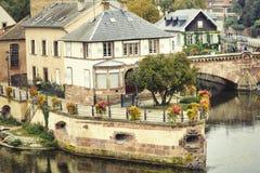 Strasbourg Alsace, Frankrike Traditionell halva timrade hus av Petite France fotografering för bildbyråer