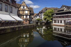 Strasbourg in the Alsace region of France. Old buildings in the historic Little Venice area of the city of Strasbourg in the Alsace region of France. This area Royalty Free Stock Photos