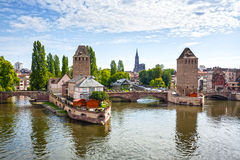 Strasbourg, bridge Ponts Couverts in Petite France Royalty Free Stock Photos