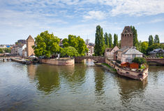 Strasbourg bro Ponts Couverts i Petite France Royaltyfri Fotografi