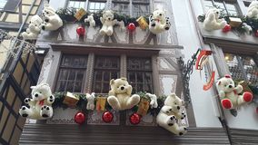 Strasbourg buildings decorated for Christmas. Bears looks great Stock Images