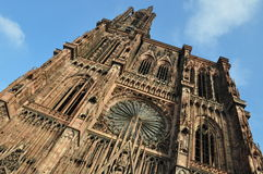 Strasbourg cathedral. Worm's eye view up the Cathedral munster of Strasbourg in Alsace in france Royalty Free Stock Images