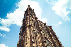 Strasbourg Cathedral. The Notre Dame cathedral in Strasbourg, France. Wide angle Royalty Free Stock Image