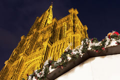Strasbourg Cathedral during Christmas time Stock Photos