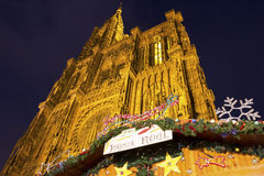 Strasbourg Cathedral during Christmas time. Cathedral in Strasbourg in France during Christmas time Royalty Free Stock Photography