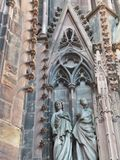 Strasbourg Cathedral - detail. Strasbourg Cathedral or the Cathedral of Our Lady of Strasbourg stock photography