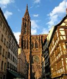 Strasbourg Cathedral in evening sunlight royalty free stock photography