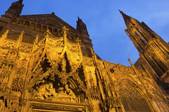Strasbourg Cathedral. In France in the evening Royalty Free Stock Photo