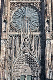 Strasbourg Cathedral front. Front Detail of Strasbourg Cathedral showing the glass window Stock Photos