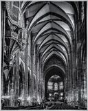 Strasbourg Cathedral interior. Cathedral in Strasbourg, interior, main view in black and white Royalty Free Stock Image
