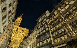 Strasbourg cathedral at night Stock Images