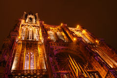 Strasbourg cathedral at night Stock Photography