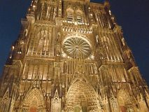 Strasbourg Cathedral - night. Strasbourg Cathedral or the Cathedral of Our Lady of Strasbourg stock image