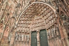 Strasbourg cathedral view. Cathedral in Strasbourg, Alsace, France Royalty Free Stock Photos