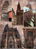 Strasbourg cathedral views. Several views of the Cathedral of Notre-Dame of Strasbourg, on grunge backgroung Stock Image