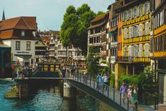 Strasbourg channels and old town royalty free stock photo