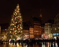 Strasbourg Christmas Market 2017. FRANCE, STRASBOURG - 20 DECEMBER 2017: People visiting the Christmas market. The Christmas market is held across the centre Stock Image