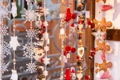 Strasbourg Christmas Market souvenir, Alsace France. Closeup of Christmas-tree decorations Stock Images