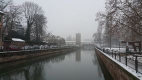 Strasbourg at Christmas, the river. This time we entered 2015 with unfrozen river Stock Images