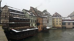 Strasbourg at Christmas, rivers and river cruise ship, this time we entered 2015 with unfrozen river Stock Photo